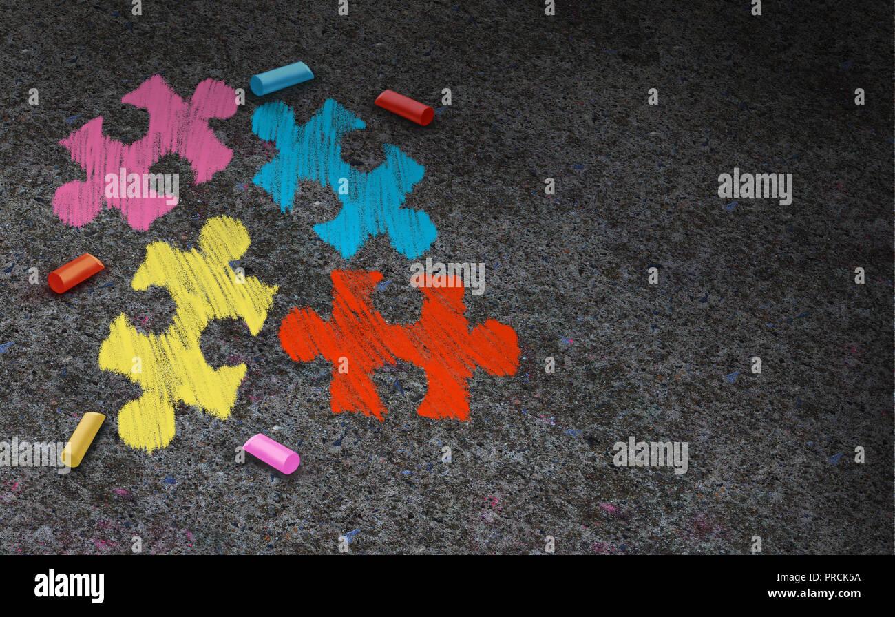 Di sensibilizzazione sull'autismo concetto di simbolo e sviluppo autistico di disturbo come un simbolo di una comunicazione e di comportamento sociale psicologia come un puzzle di Chalk. Immagini Stock
