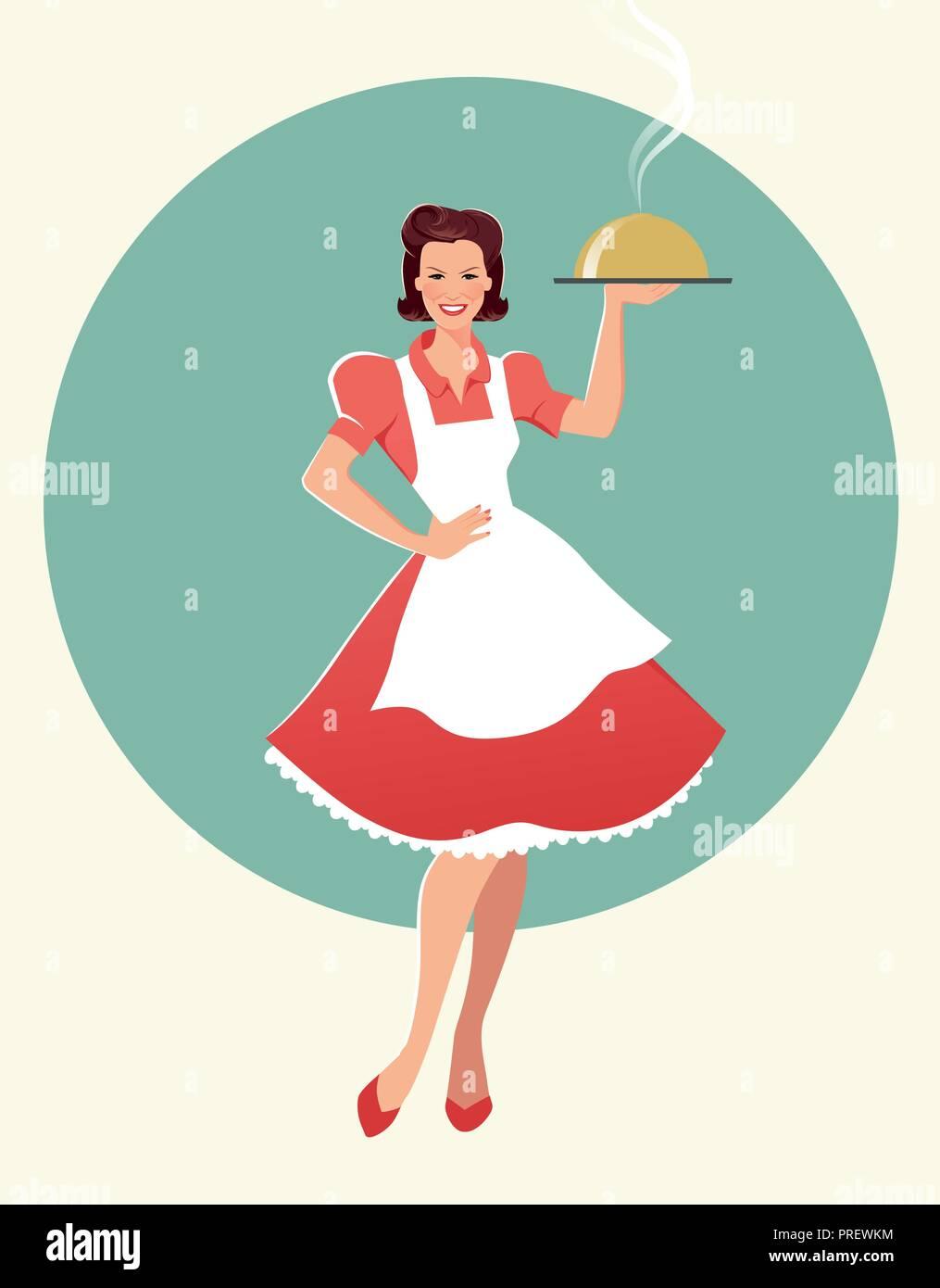 La casalinga che porta un vassoio con la cena. In stile retrò. Illustrazione  Vettoriale f5a34b17b1e2