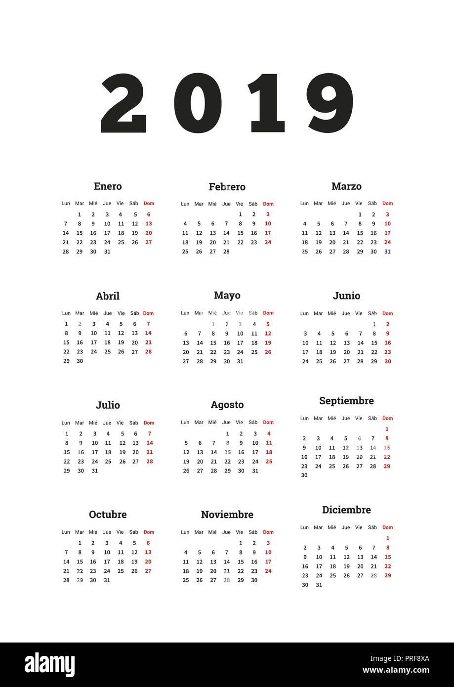 Calendario Spagnolo.2019 Anno Di Calendario Semplice In Spagnolo A4 Foglio