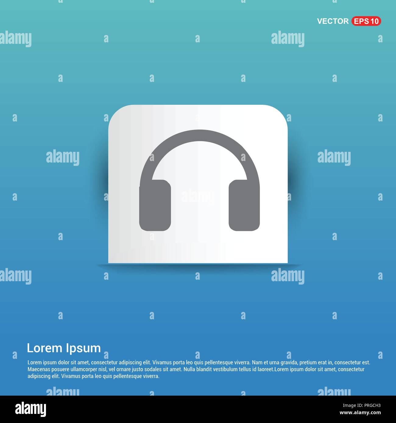 Icona delle cuffie - Adesivo Blu button Illustrazione Vettoriale ... 2ac57e1b33e2