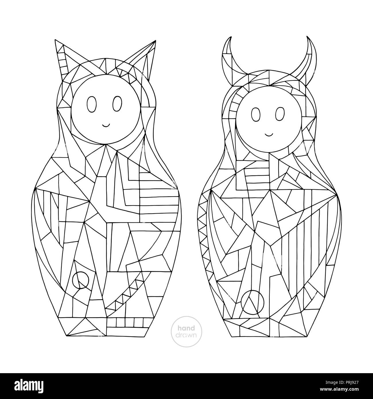 Abstract Ragazze Pagine Da Colorare Disegnato A Mano E Cat Devil
