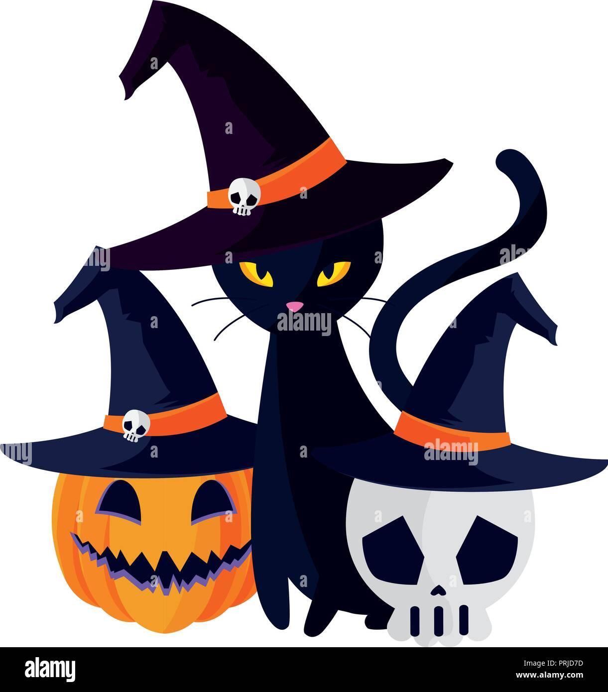 Halloween gatto nero con carattere di zucca illustrazione vettoriale design  Immagini Stock d9e6bd624489