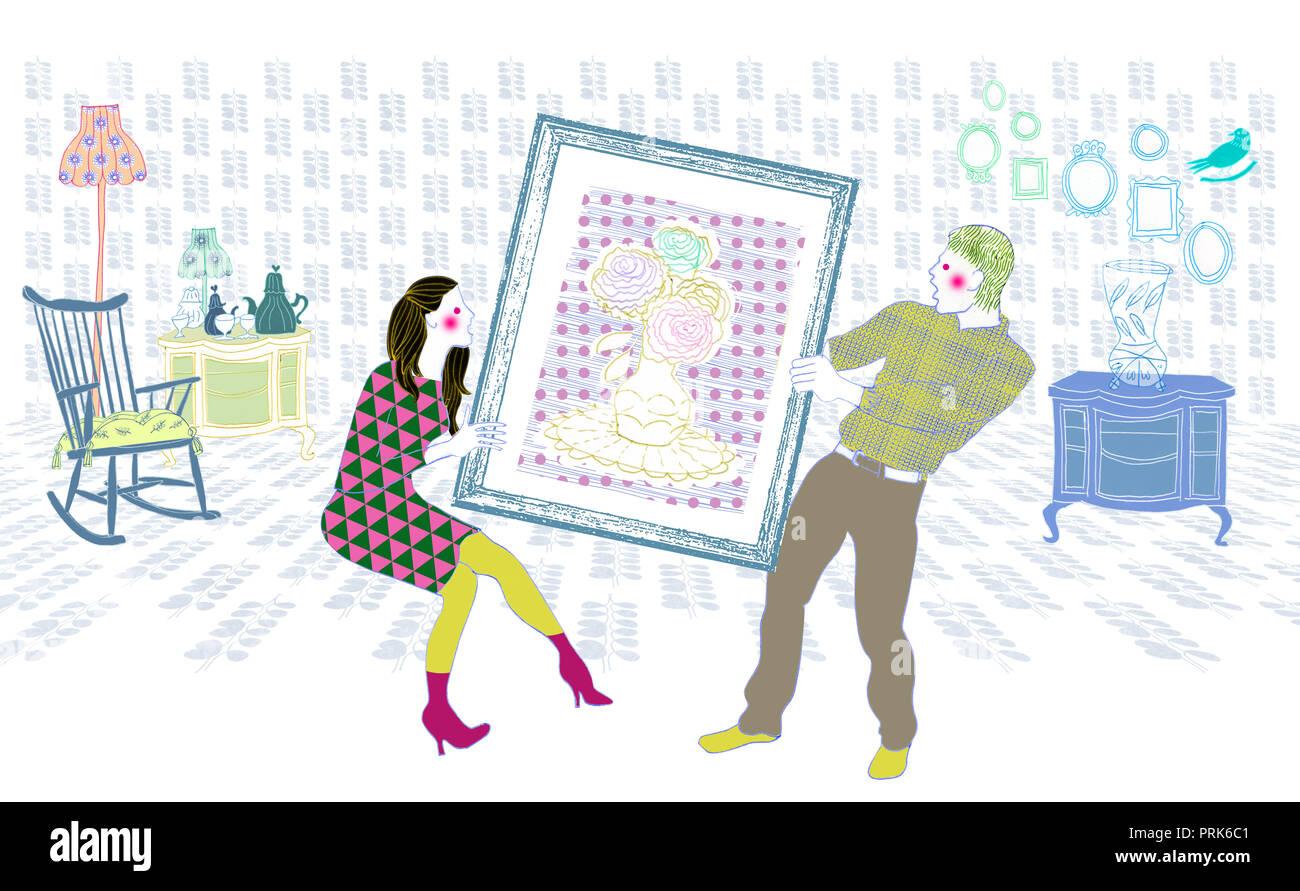 L uomo e la donna in lotta per un dipinto Immagini Stock