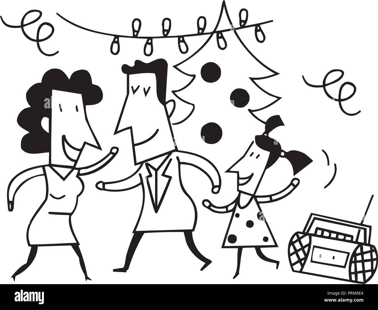 Festa Di Famiglia Cartoni Animati Disegno Di Schizzo Illustrazione