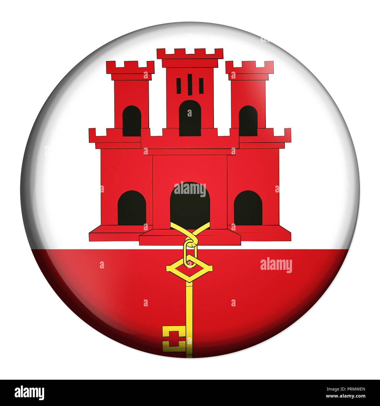 Icona Del Cerchio La Bandiera Di Gibilterra Isolati Su Sfondo