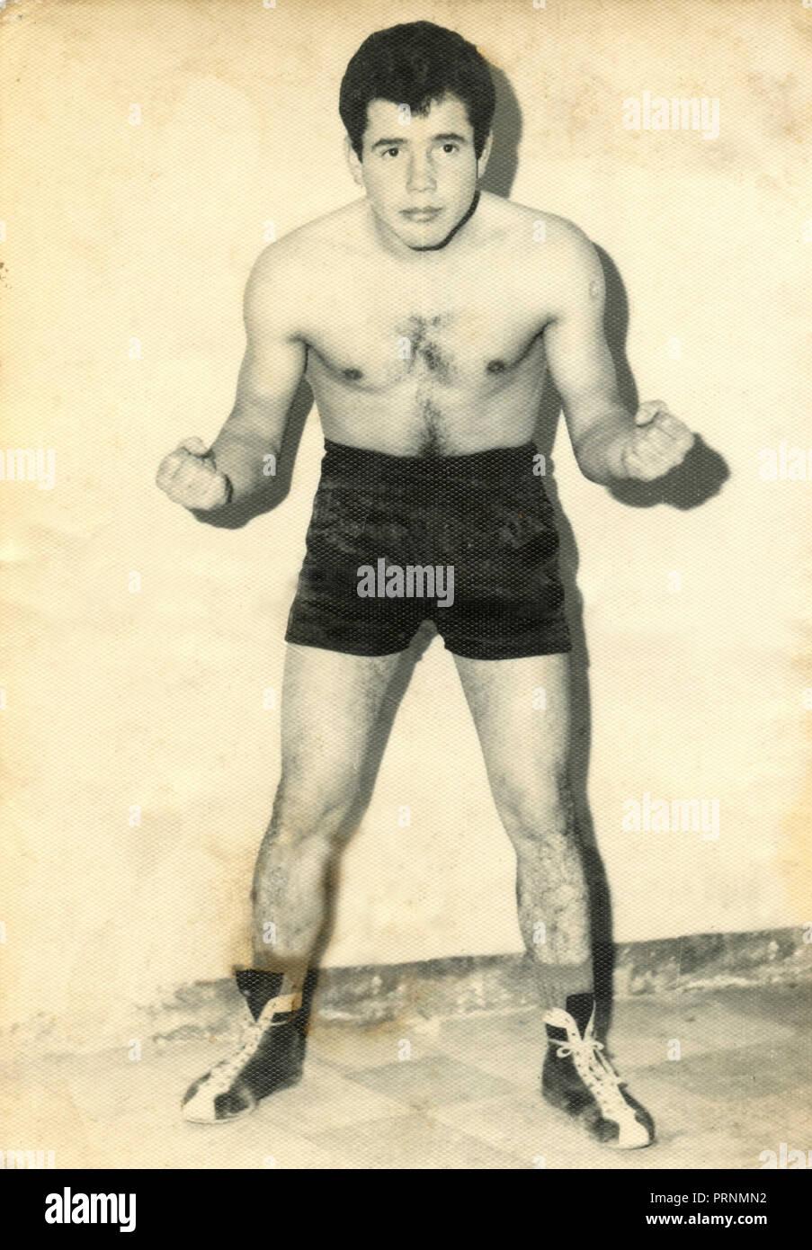 Boxe italiana atleta Roberto Paoletti, 1960 Immagini Stock
