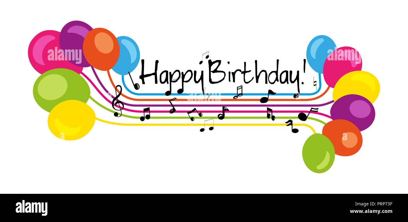 Disegnata a mano segno buon compleanno in musica di stile doga