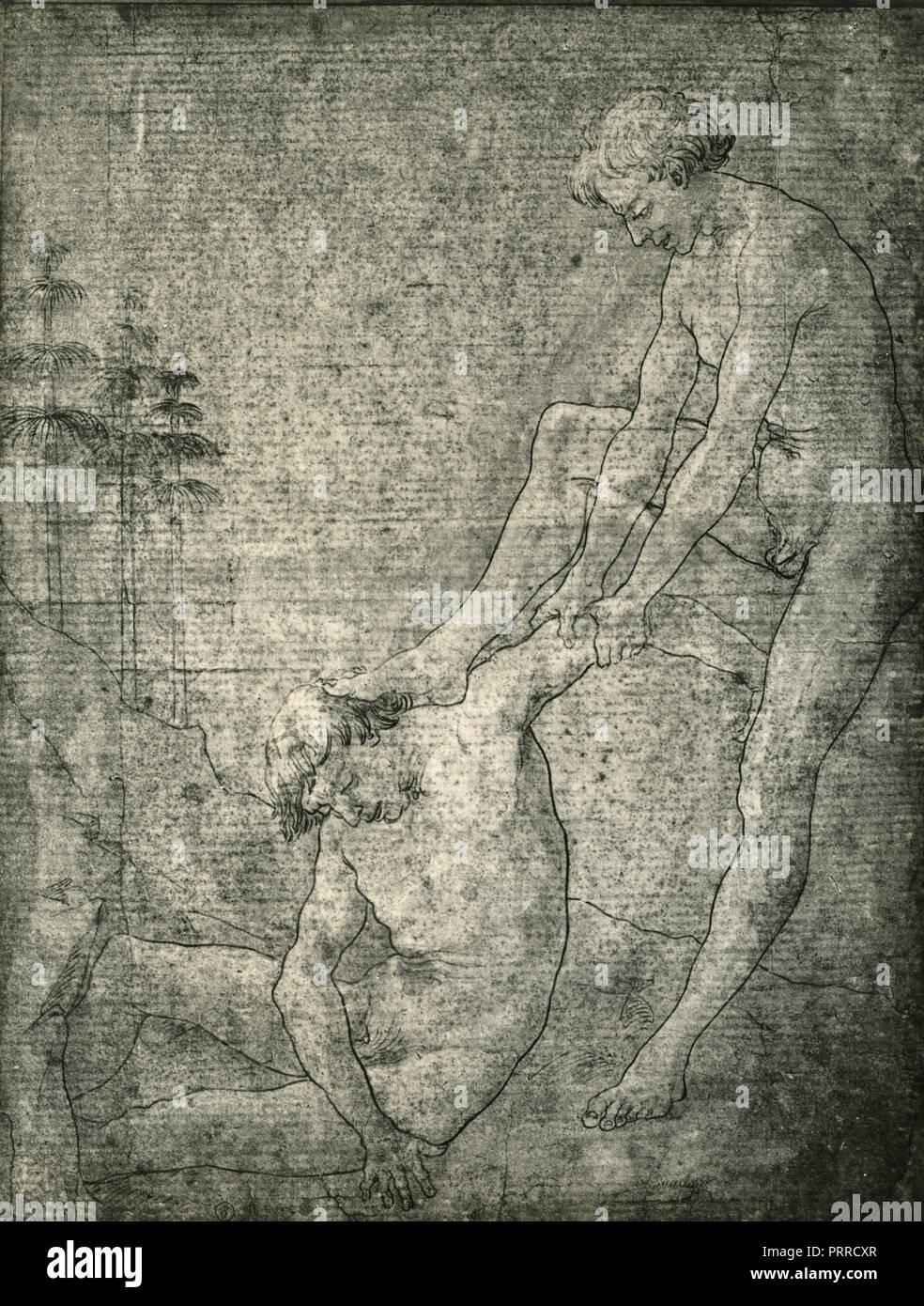 Studi di corpo, disegno del Pollaiolo, 1920s Immagini Stock