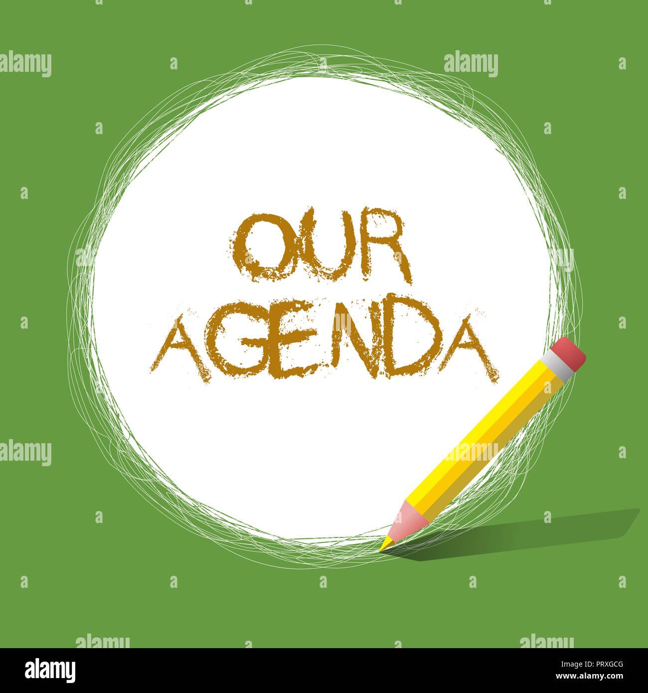 Calendario Significato.Testo Della Scrittura Della Nostra Agenda Concetto