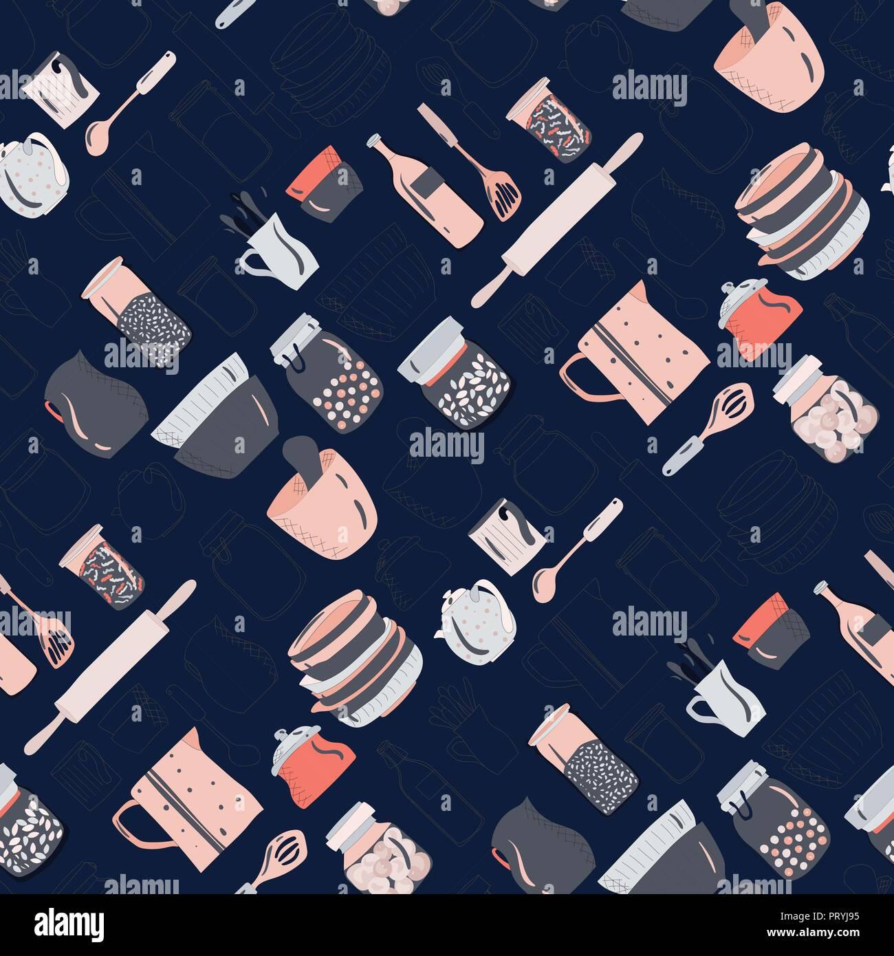 Colorato di utensili da cucina, stoviglie, piatti, tazze, teiere ...