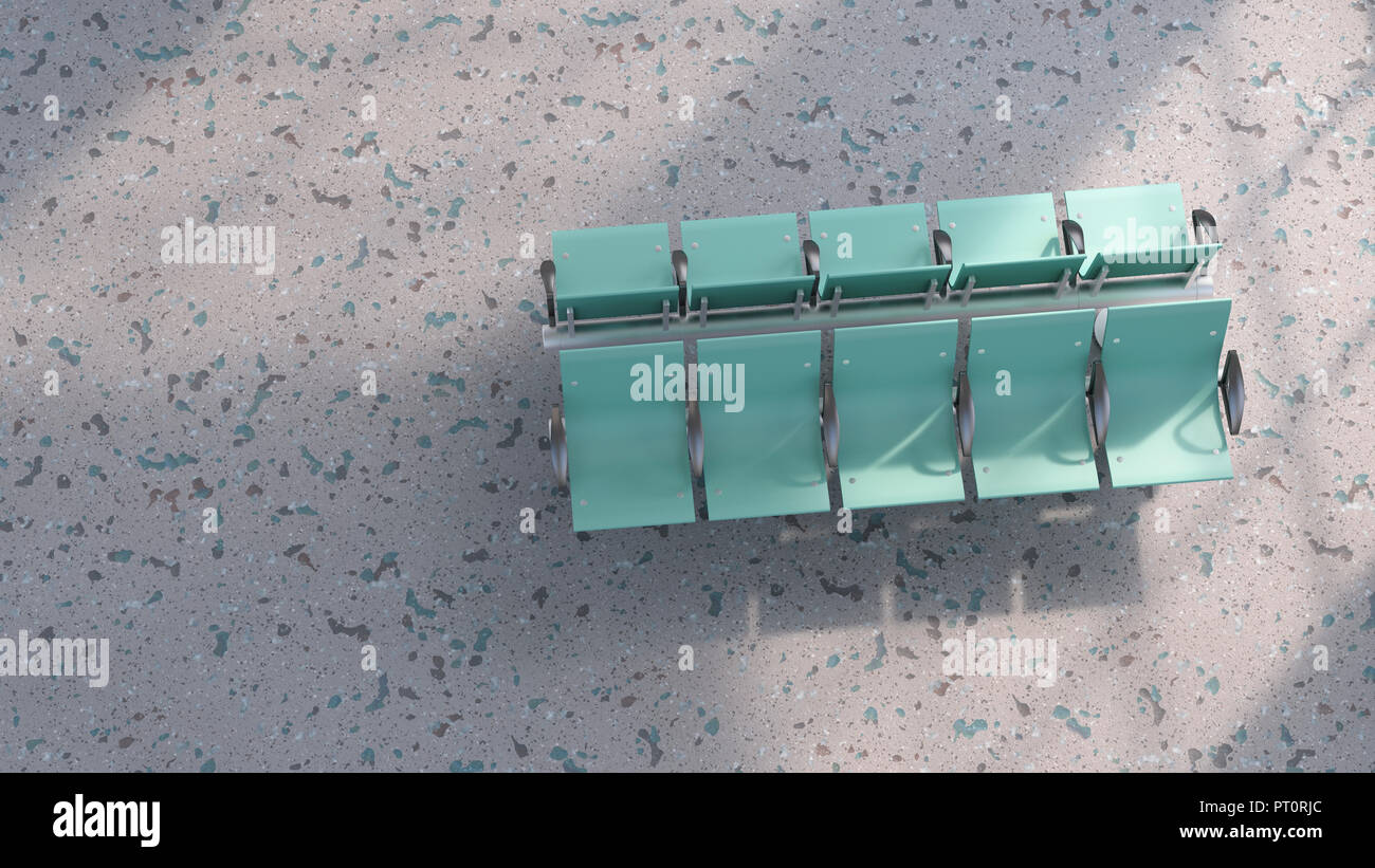 3D rendering, verde fila di posti sul piano strutturato Immagini Stock