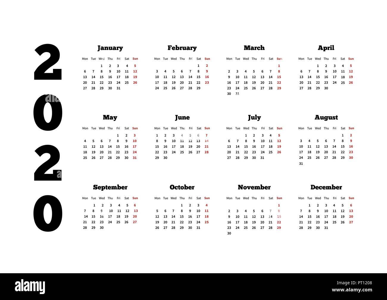 Calendario Con Le Settimane 2020.Il Calendario Del 2020 Anno Con La Settimana A Partire Da
