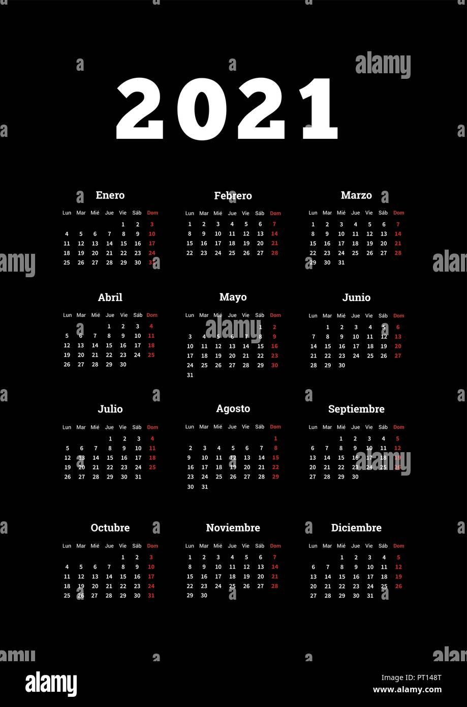 2021 anno semplice calendario in spagnolo, formato A4 foglio