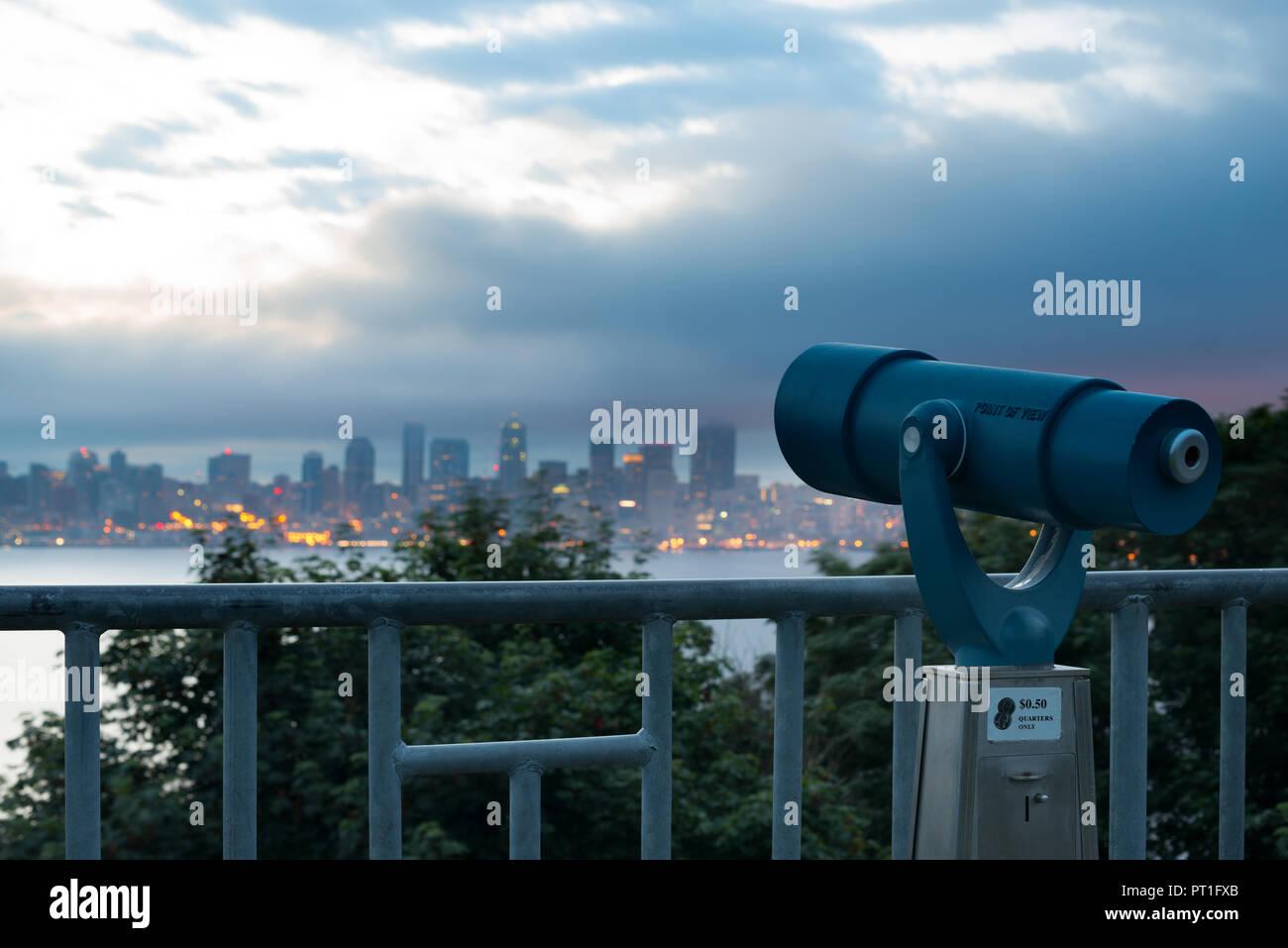 A gettone mirino di puntamento sullo skyline di Seattle, nello Stato di Washington, USA Immagini Stock