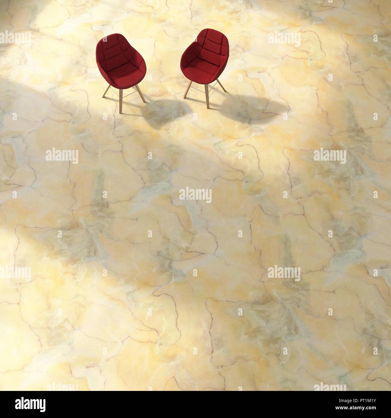 Il rendering 3D, due sedie sul pavimento strutturato Immagini Stock
