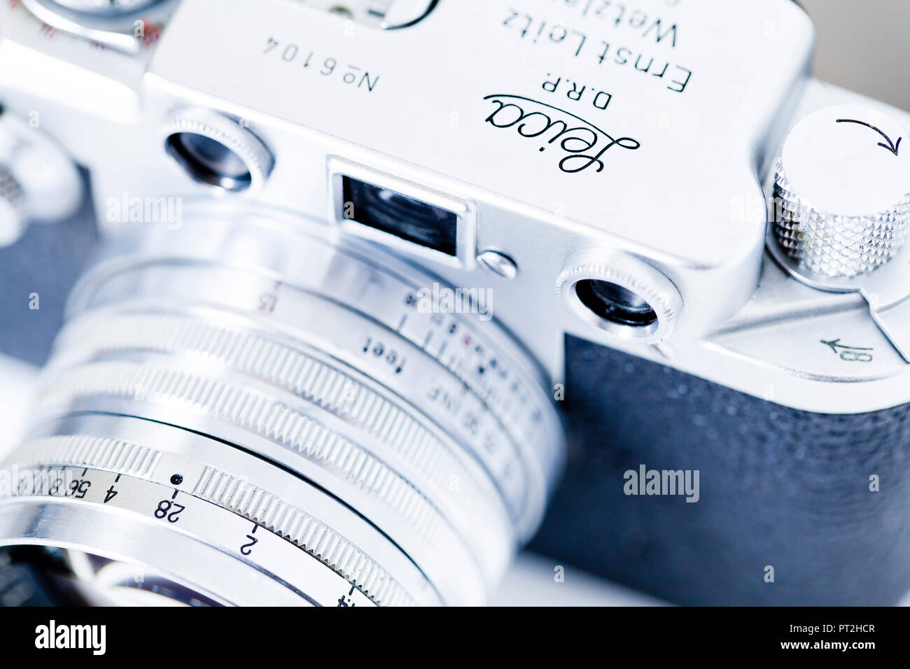 Vintage Leica IIIf 35mm Pellicola anteriore della fotocamera vicino, circa 1952 Immagini Stock