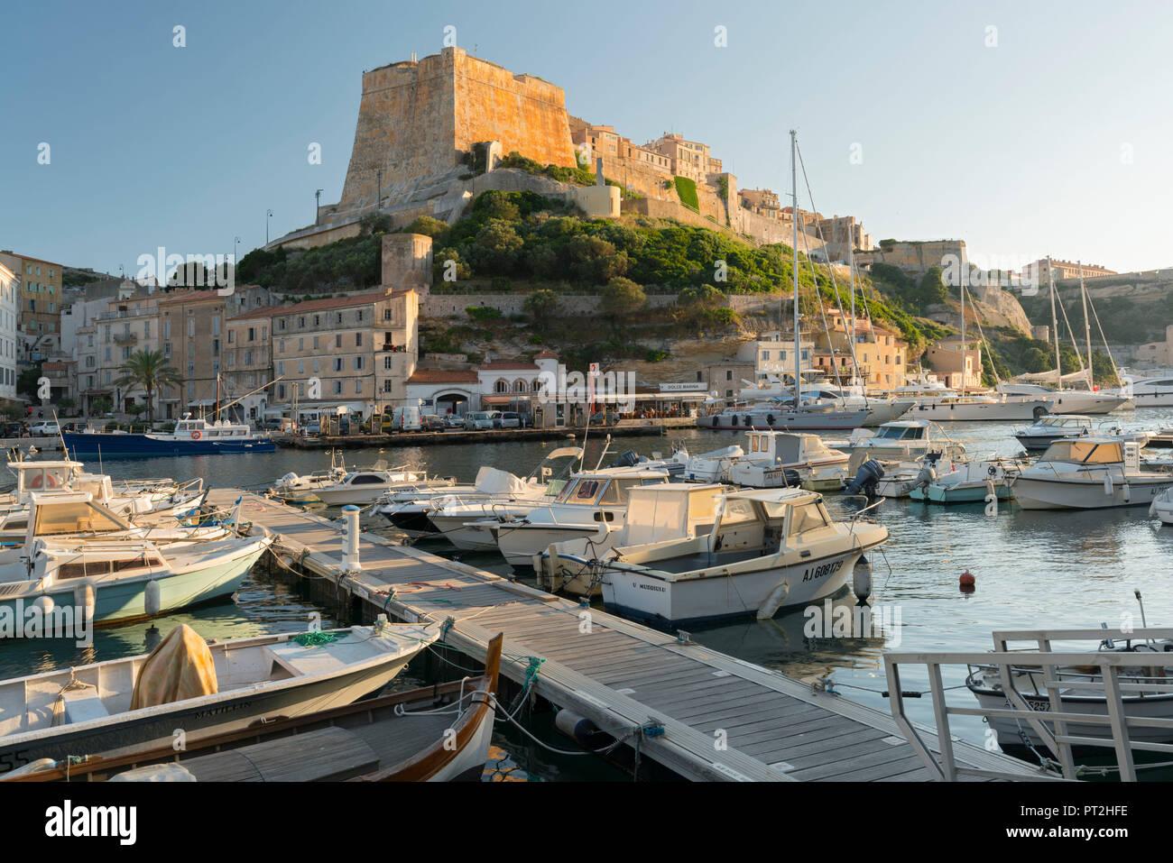 Il porto e la cittadella di Bonifacio, Corse du Sud, Corsica, Francia Immagini Stock