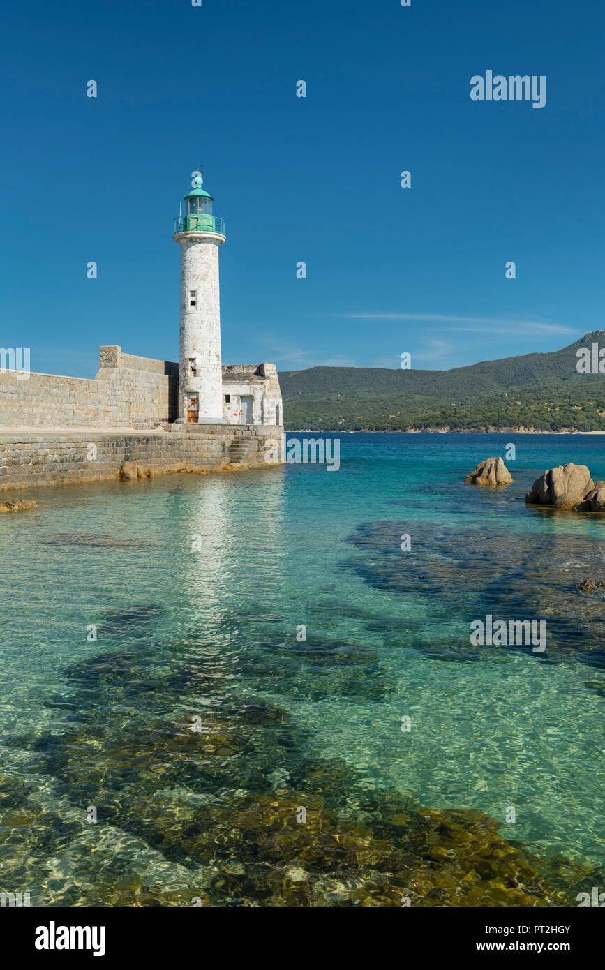 Faro di Propriano, Corse du Sud, Corsica, Francia Immagini Stock