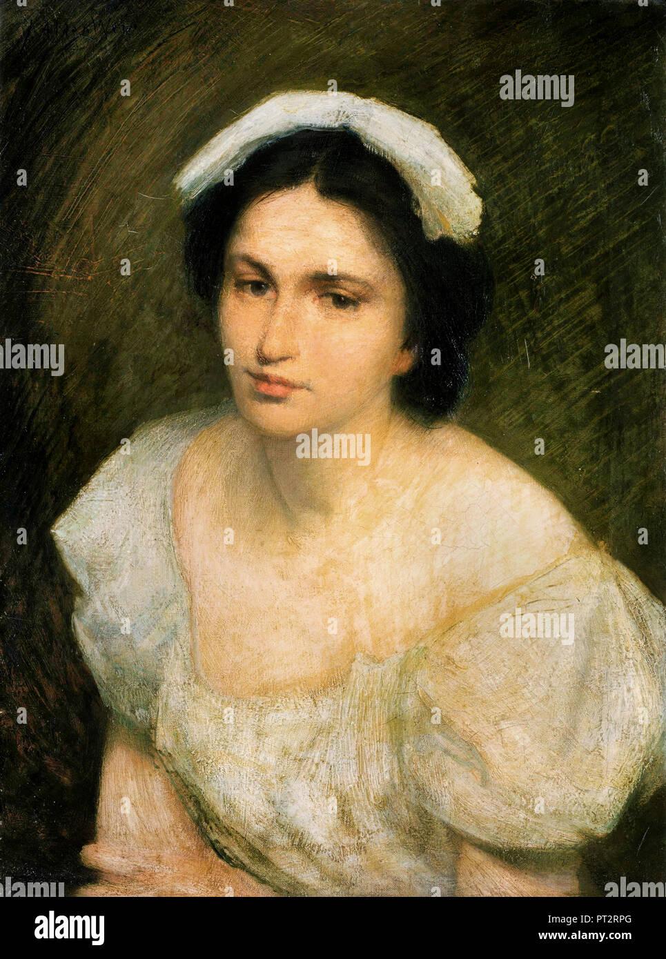 J. Alden Weir, una ragazza alsaziano, olio su tela, la Collezione Phillips, Washington, Stati Uniti d'America. Immagini Stock