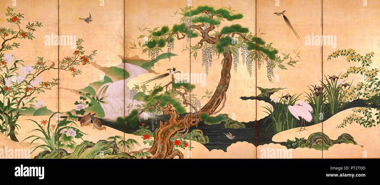 Kano Eino, uccelli e fiori di primavera ed estate, secolo XVII, Suntory Museum of Art, Osaka, Giappone. Immagini Stock