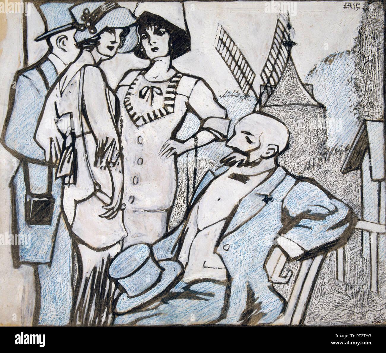Juan Gris, al Longchamps gare 1913 inchiostro, Gouache e matita colorata su cartoncino, Museu Nacional d'Art de Catalunya, Barcelona, Spagna. Immagini Stock