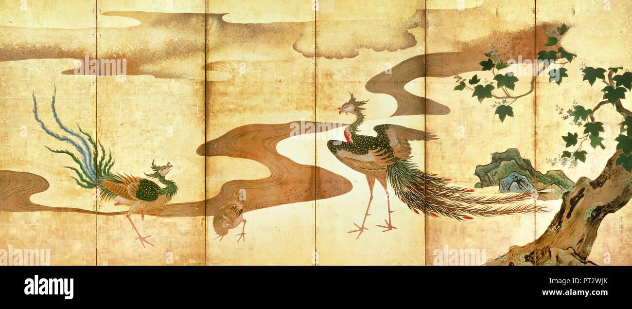 Kano Tan yu, Fenici da alberi di Paulownia, secolo XVII, Suntory Museum of Art, Osaka, Giappone. Immagini Stock