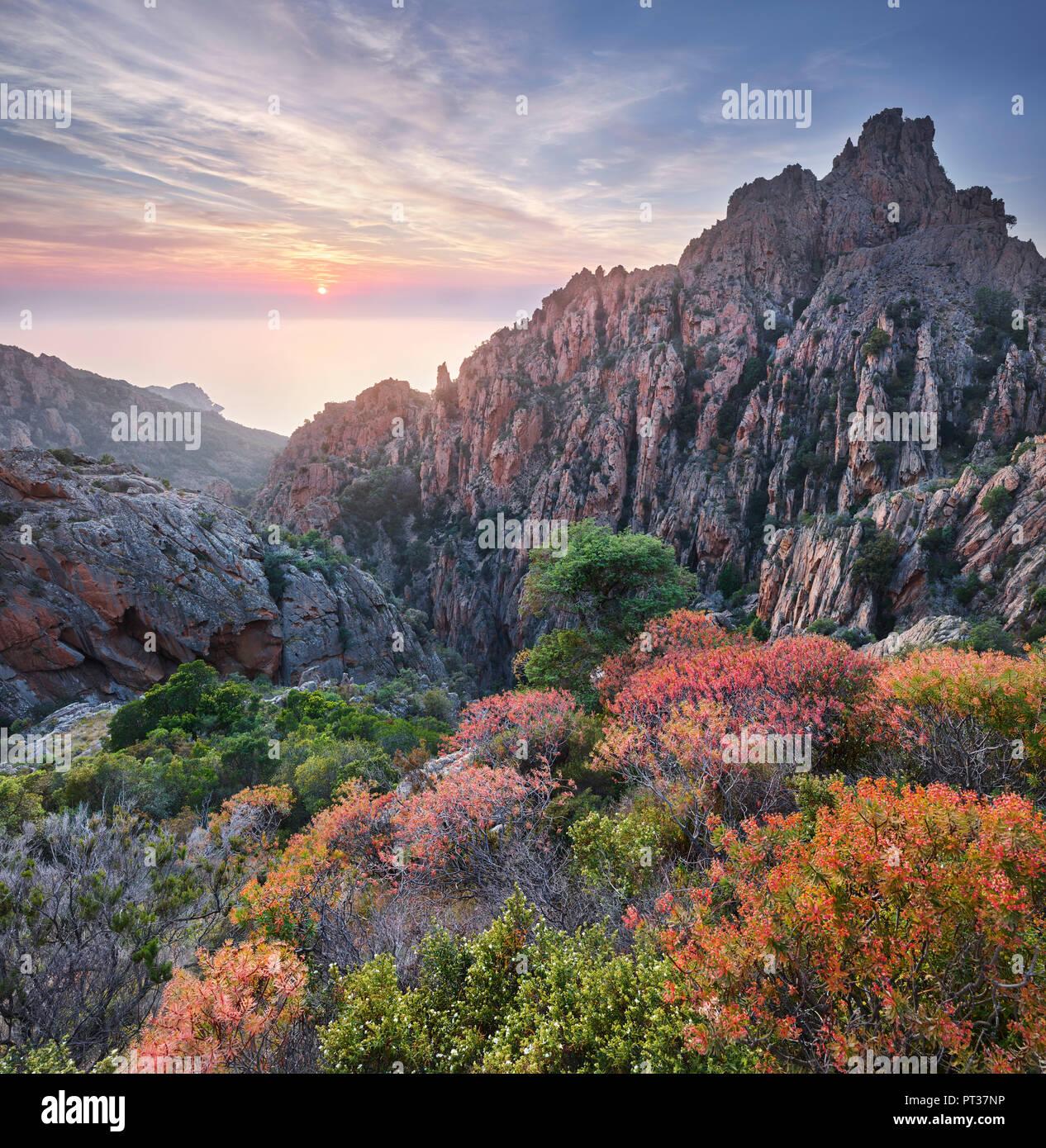 Calanche de Piana, Golfe de Porto, Corsica, Francia Immagini Stock
