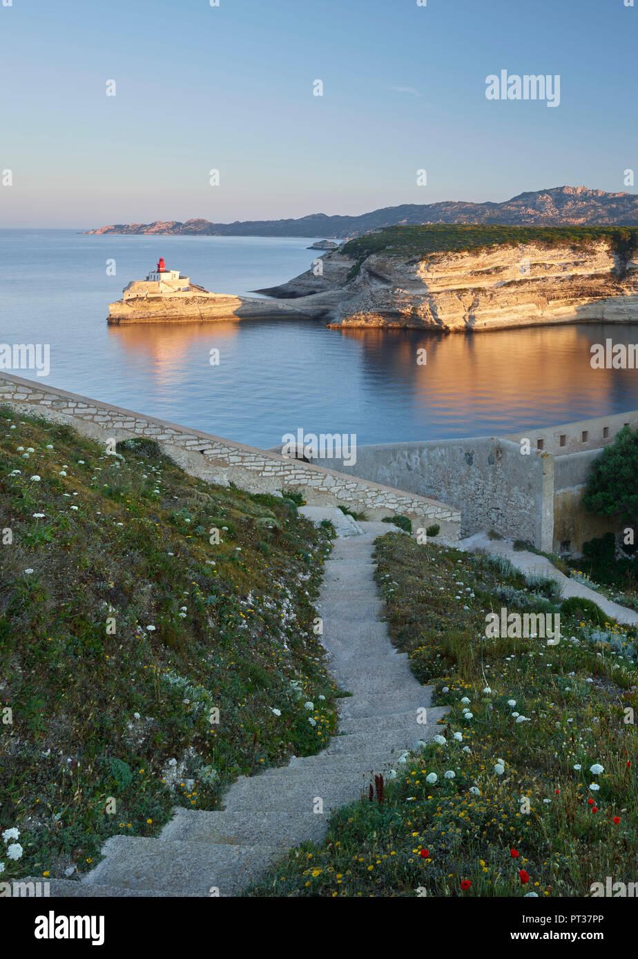 Baia di Bonifacio, Corse du Sud, Corsica, Francia Immagini Stock