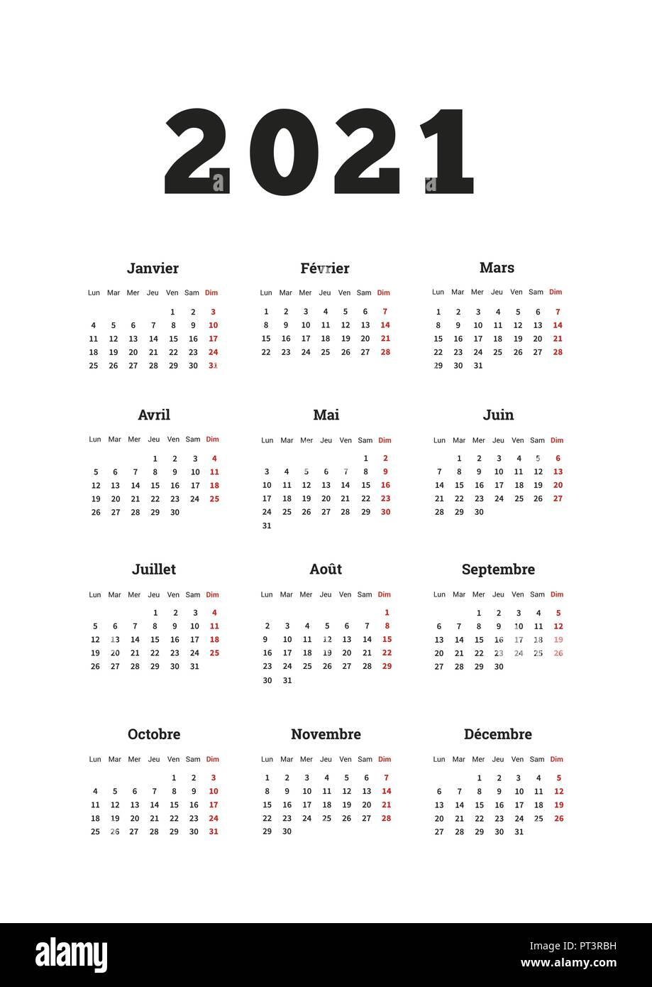 2021 anno di calendario semplice sulla lingua francese, formato A4
