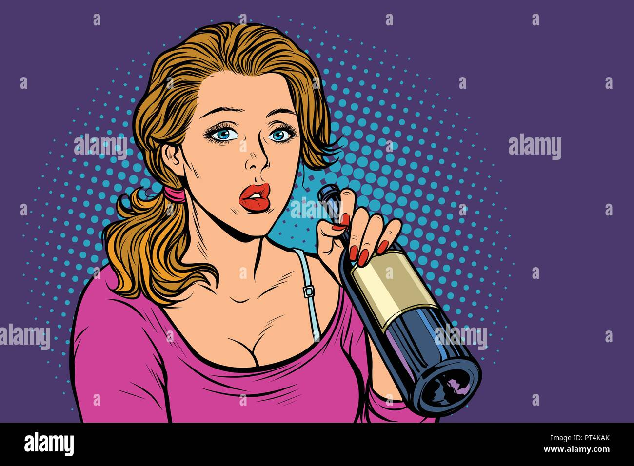 Donna di bere il vino dalla bottiglia. La solitudine e la tristezza. La Pop dcbeec49b83c