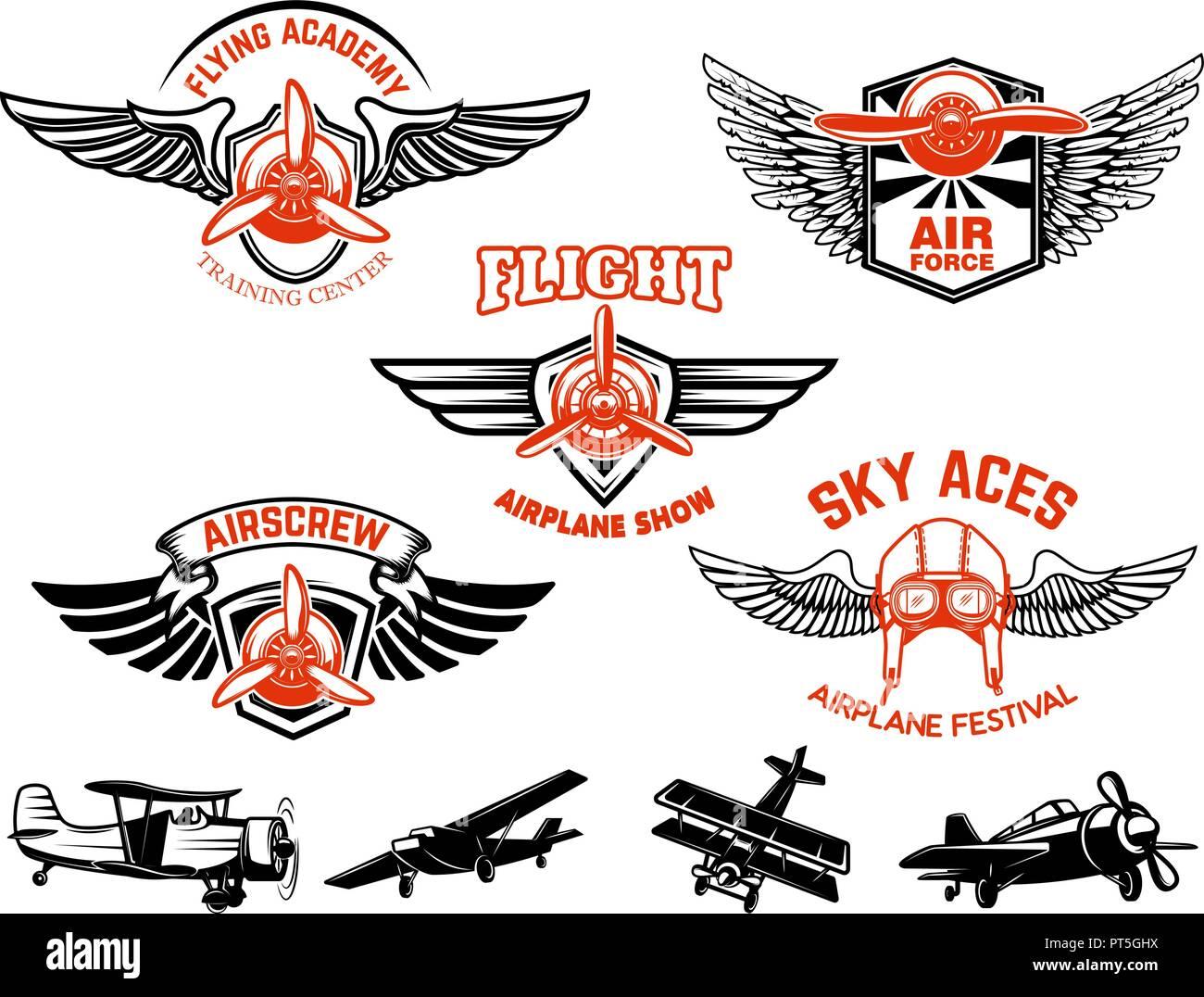 Set di aeroplano mostra etichette. Emblemi con ali e delle eliche. Vettore  di elementi 77d03b637fa5