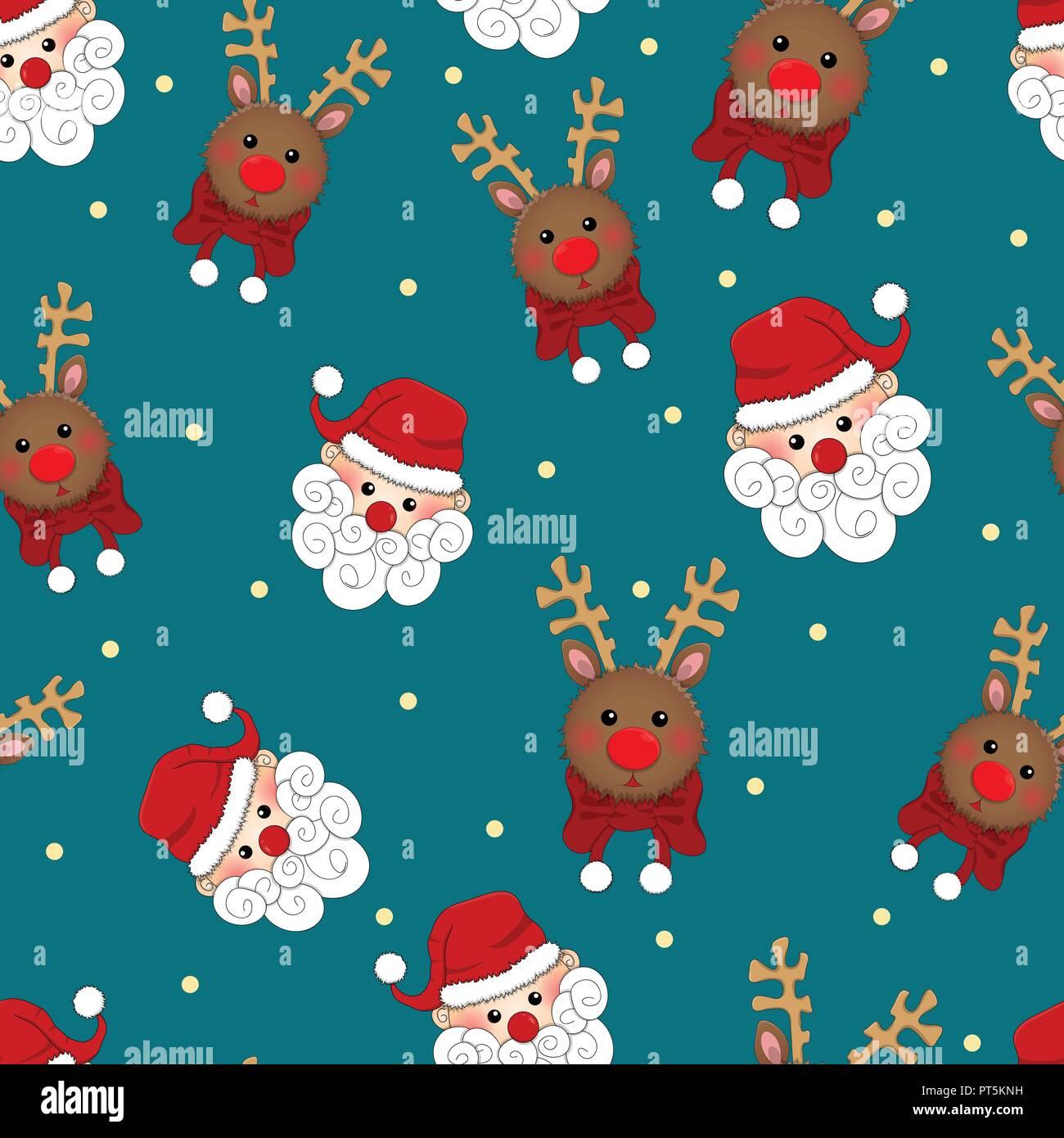 Sfondi Babbo Natale.Babbo Natale E La Renna Seamless Su Sfondo Blu Illustrazione Vettoriale Immagine E Vettoriale Alamy