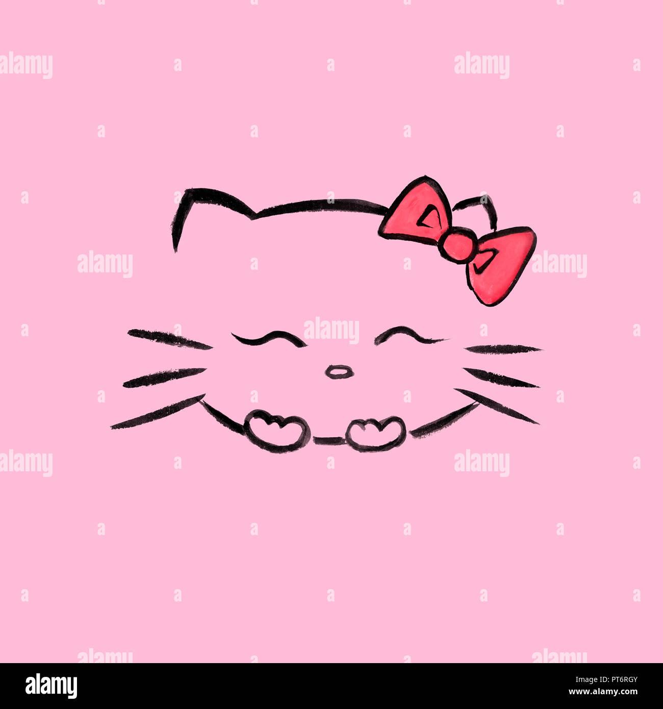 Carino Sorridente Hello Kitty Con Un Fiocco Rosso Giapponese