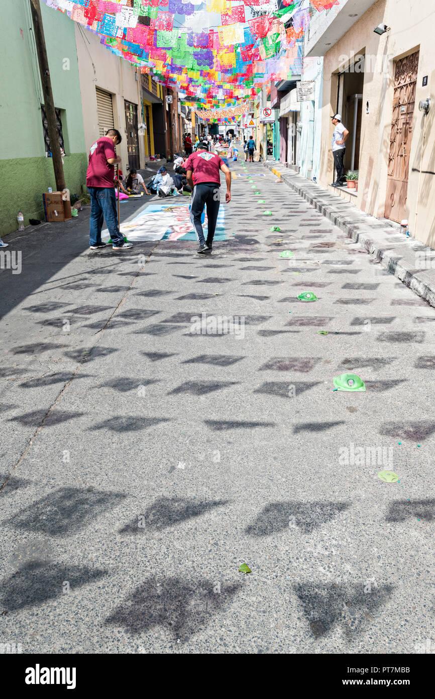 Papel Picado Bandiere Ombra Sulla Strada Come Residenti Crea Gigante