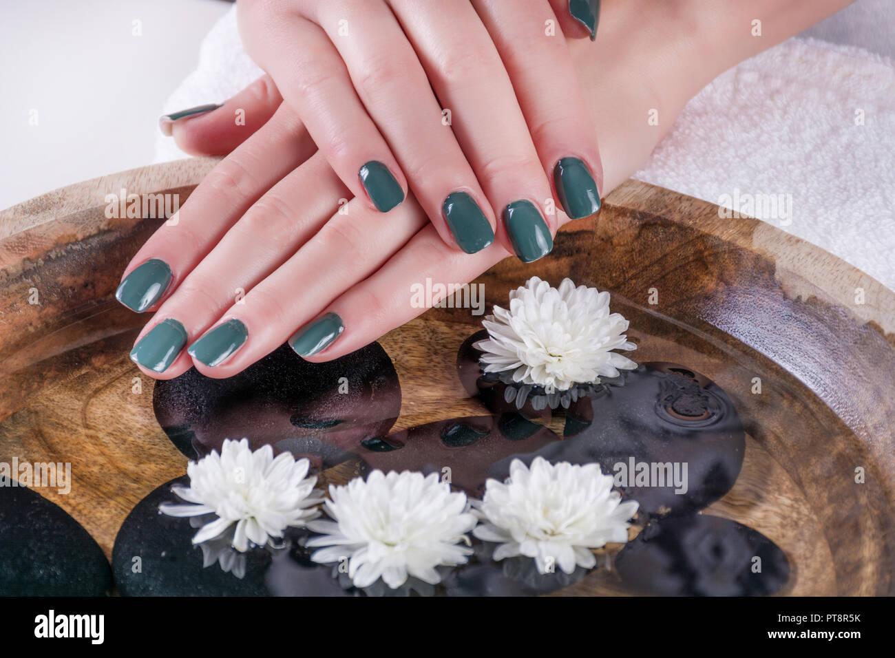 Colore Oliva Unghie Gel Polish Manicure Sulla Ragazza Mani Sopra
