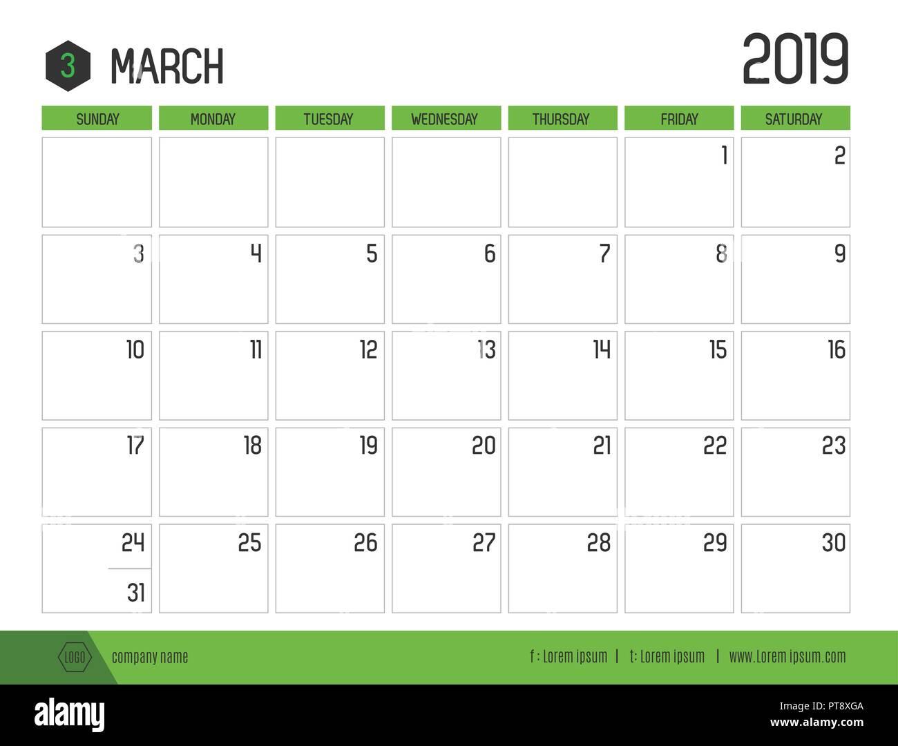 Marzo Calendario.Vettore Del Moderno Calendario Verde 2019 Marzo In Semplice