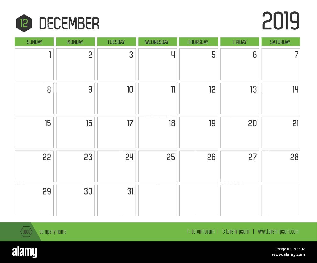 Calendario 2019 Moderno.Vettore Del Moderno Calendario Verde 2019 Dicembre In