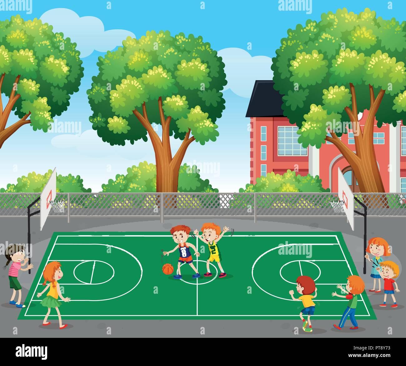 Ragazzi Che Giocano A Basket Illustrazione Della Scena Illustrazione