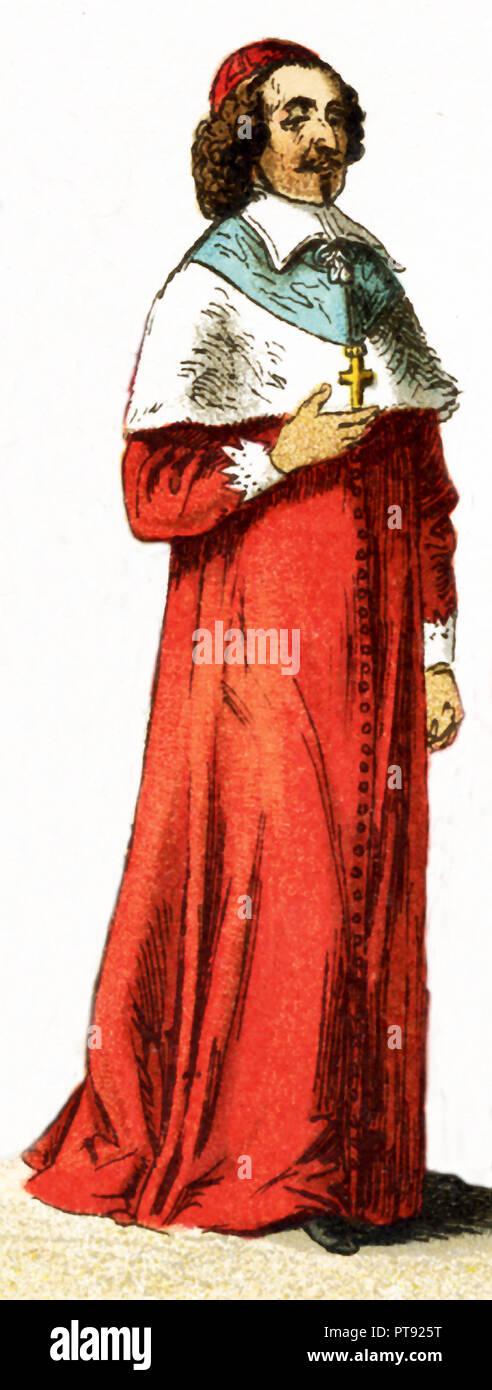 Le figure qui rappresentato è il francese il cardinale Mazzarino, che visse nel XVII secolo. L'illustrazione risale al 1882. Immagini Stock