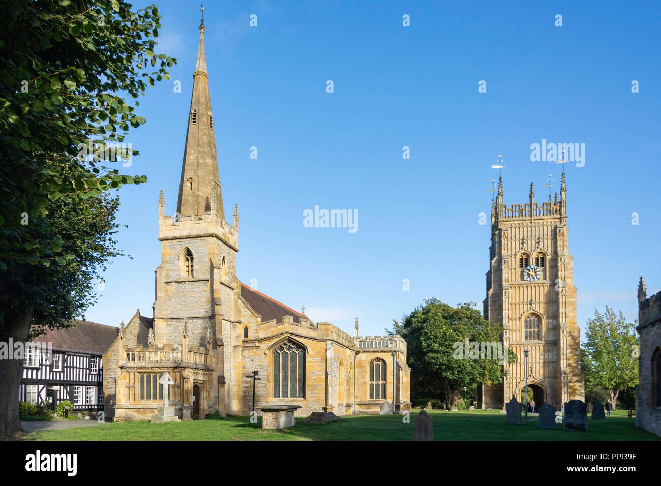 Tutti i Santi la Chiesa Parrocchiale e il campanile a torre, Evesham Abbey, Evesham, Worcestershire, England, Regno Unito Foto Stock