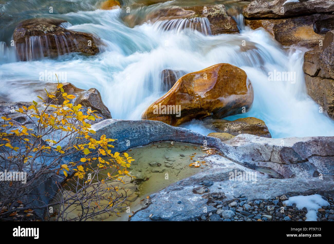 Nigel Creek è un flusso di breve situato nelle Montagne Rocciose Canadesi di Alberta, Canada. Immagini Stock