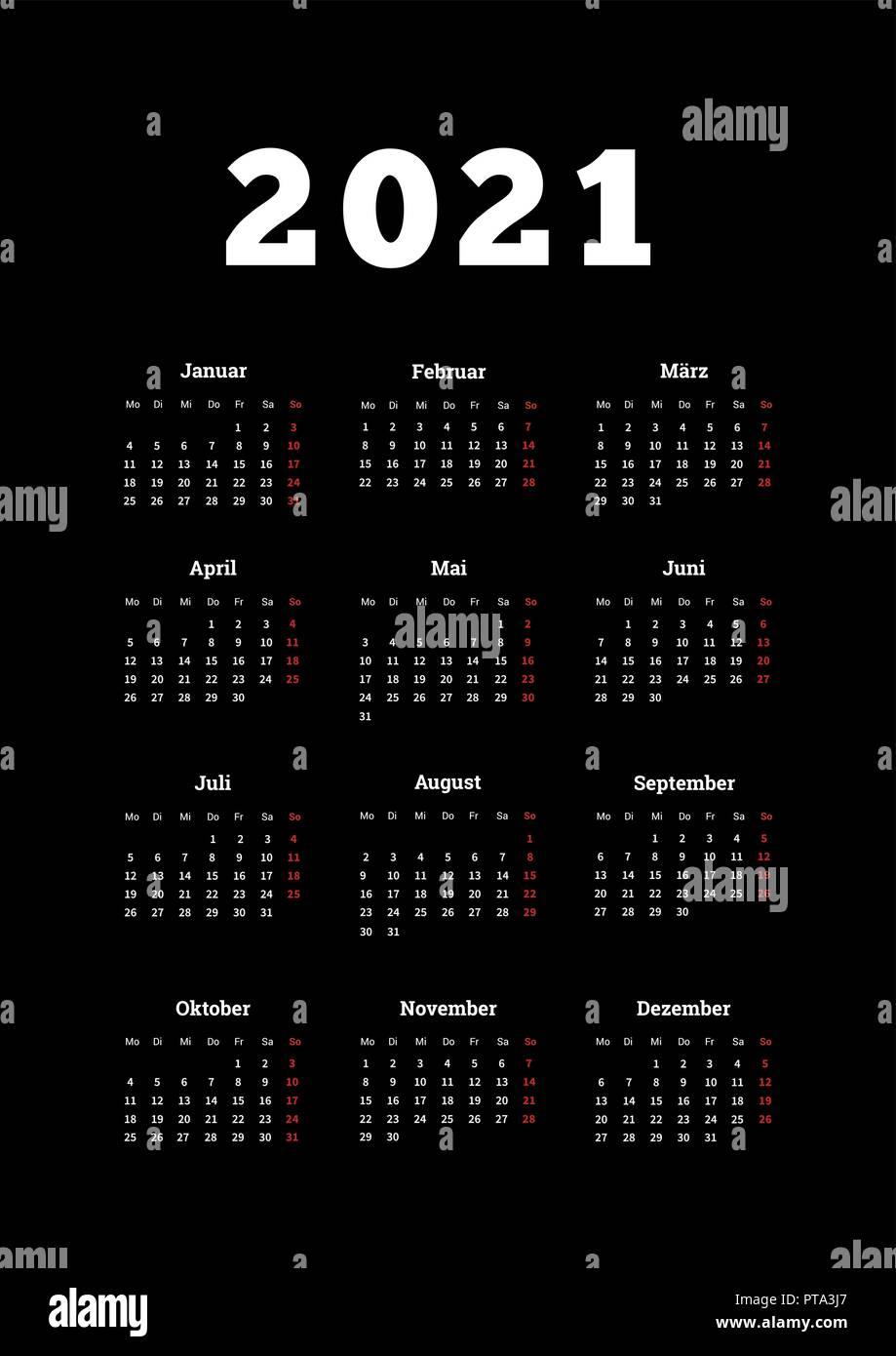 2021 anno di calendario semplice sulla lingua tedesca, formato A4