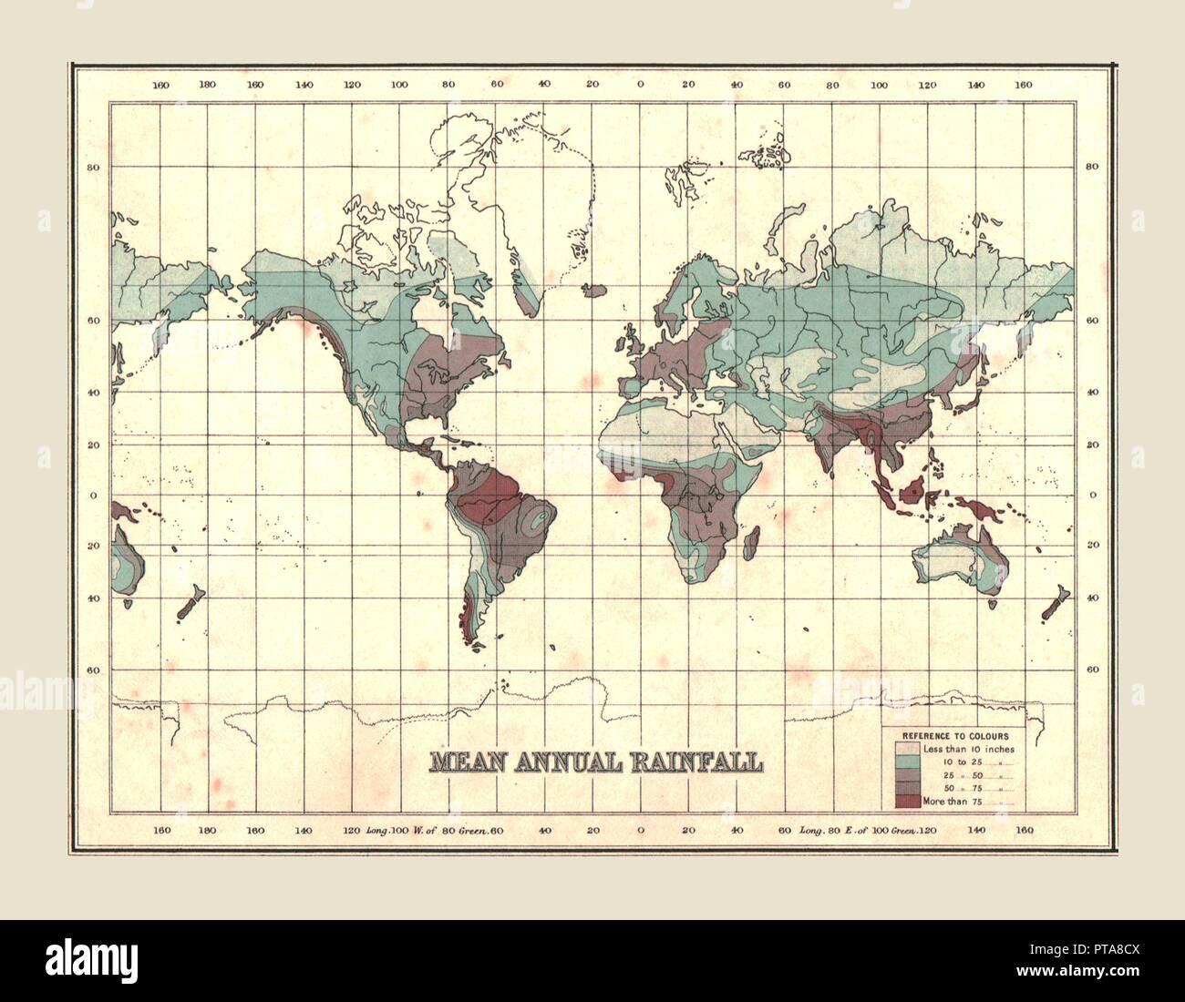 Mappa del mondo che mostra significa pioggia annuale del 1902. A partire dal secolo Atlante del mondo. [John Walker & Co Ltd, Londra, 1902] Immagini Stock