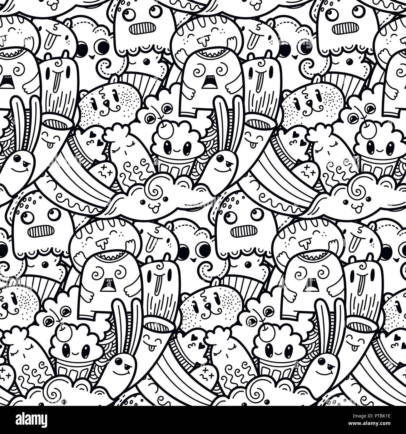 Funny Doodle Mostri Seamless Pattern Per Stampe Disegni E Libri Da