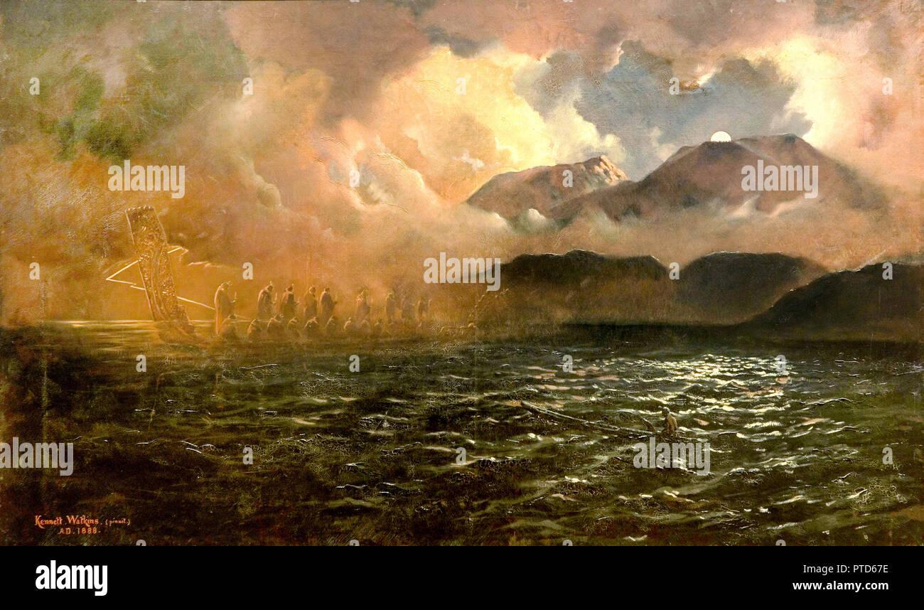 Kennett Watkins, Il fantasma di canoa: una leggenda del lago Tarawera, 1888 olio su tela, Auckland Art Gallery Toi o Tamaki, Auckland, Nuova Zelanda. Immagini Stock