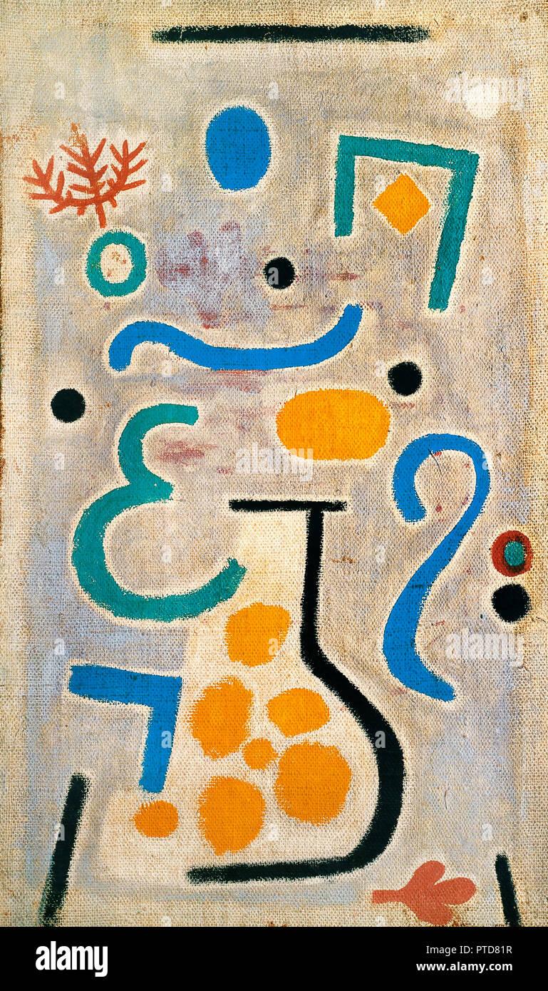 Paul Klee, il vaso 1938 olio su tela, Fondazione Beyeler, Riehen, Svizzera. Immagini Stock