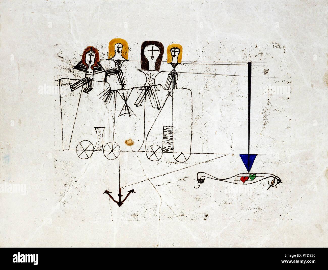 Paul Klee, la virtù del carro alla memoria del 5 ottobre 1922, 1922 trasferimento olio disegno e acquerello su terreno preparato su carta, Nelson-Atkins Museum of Art di Kansas City, Missouri, Stati Uniti d'America. Immagini Stock