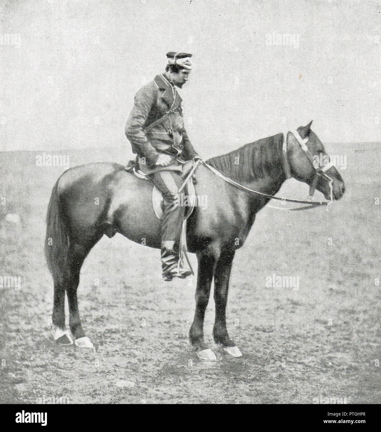 Generale La onorevole Sir George Cathcart, a cavallo durante la Guerra di Crimea, da Roger Fenton. Cathcart è stato ucciso durante la Battaglia di Inkerman, 5 novembre 1854 Immagini Stock