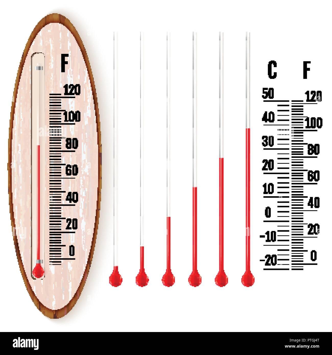 Realistico termometro liquido con gradi Celsius e Fahrenheit scale ...