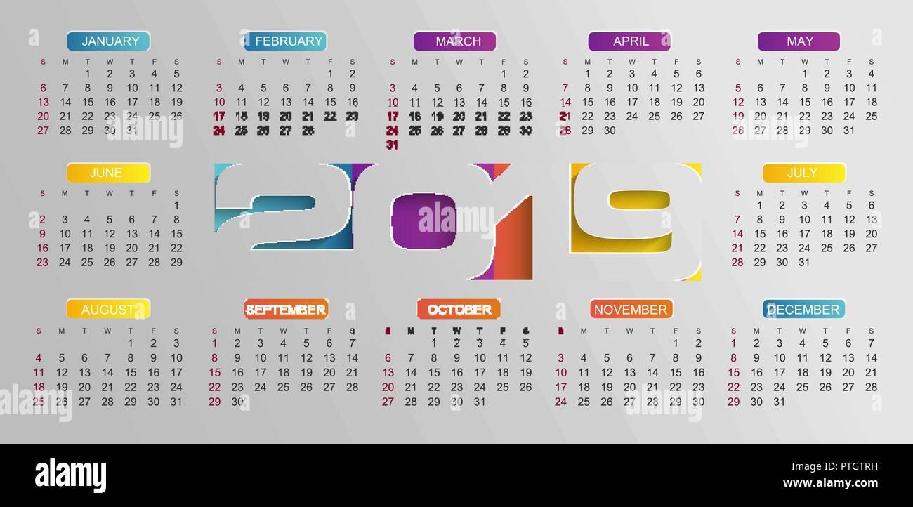 Calendario 2019 Moderno.Calendario Moderno Per Il 2019 Anno Evento Di Festa Planner